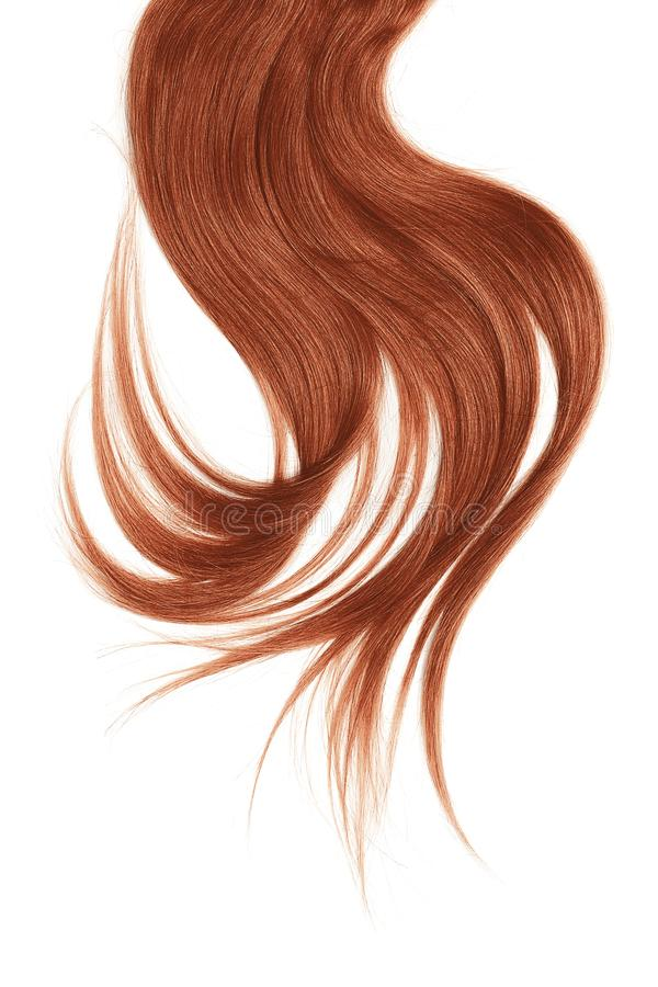 Henna hair, isolated on white background. Long and disheveled ponytail. Natural healthy hair isolated on white background. Detailed clipart for your collages and stock photo