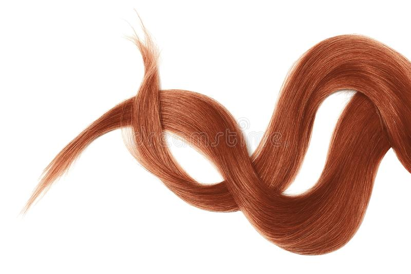 Henna hair isolated on white background. Long disheveled ponytail. Natural healthy hair isolated on white background. Detailed clipart for your collages and royalty free stock photo