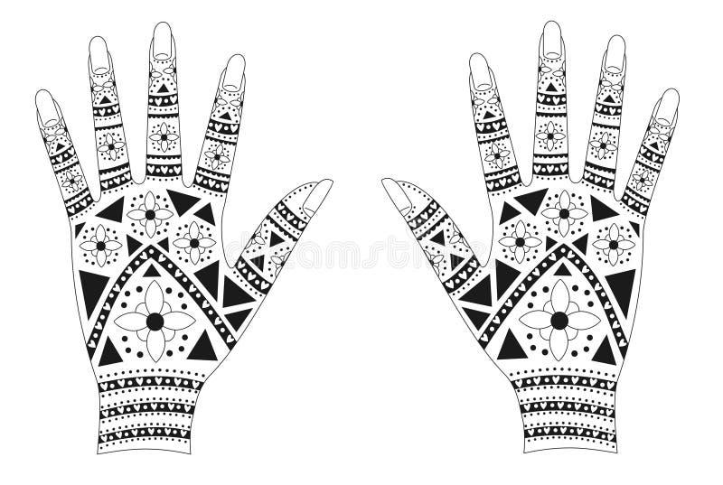 Henna hands royalty free illustration