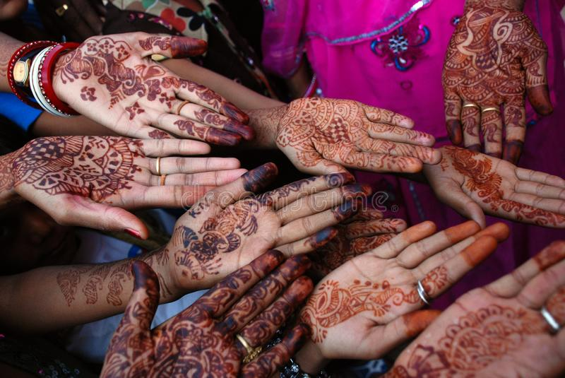 Henna hands at Indian Wedding stock photography