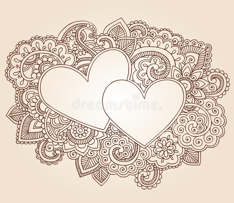 Henna Hearts Valentine's Day Vector royalty free stock photography