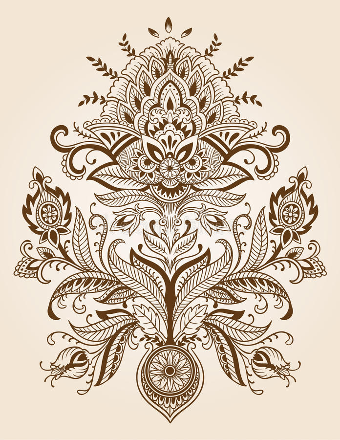 Henna Lace Paisley Flower Vector vector illustratie