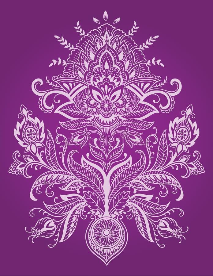 Henna Lace Paisley Flower Vector stock de ilustración