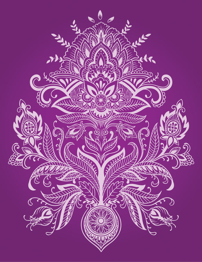 Henna Lace Paisley Flower Vetora ilustração stock