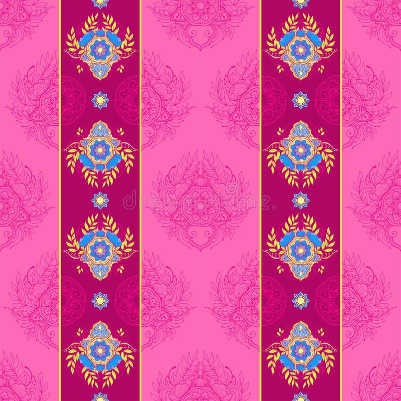 Henna mandala flower vertical ornament design seamless pattern  background stock illustration