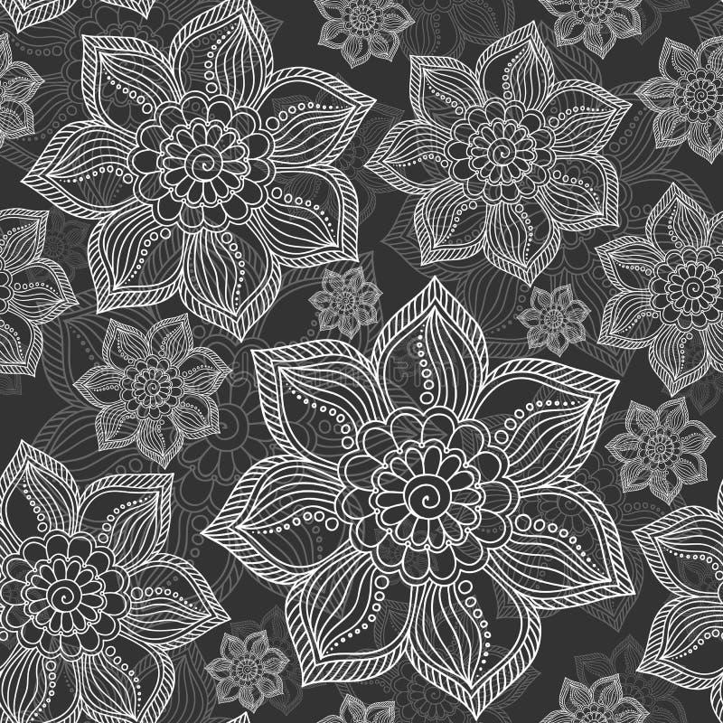 Henna Mehendi Tattoo Seamless Pattern ilustración del vector