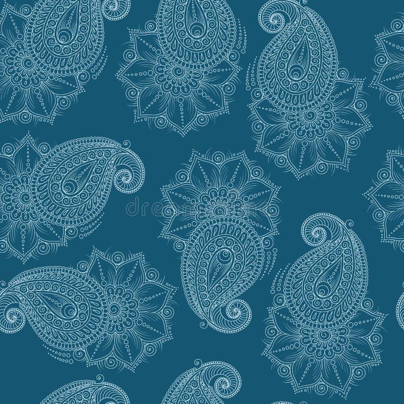 Henna Mehendy Doodles Seamless Pattern em um fundo azul ilustração stock