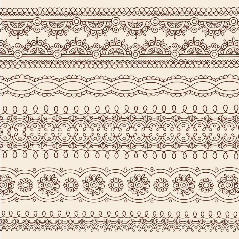 Download Henna Mehndi Doodle Vector Border Design Elements Stock Vector - Illustration: 21066882