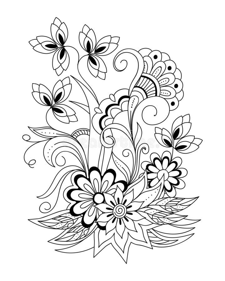 Henna mehndi flowers for adult coloring royalty free stock images