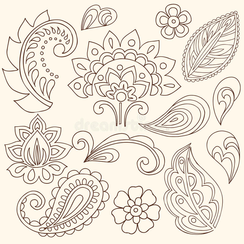 Download Henna Mehndi Flowers And Paisley Vector Stock Vector - Illustration: 13174221