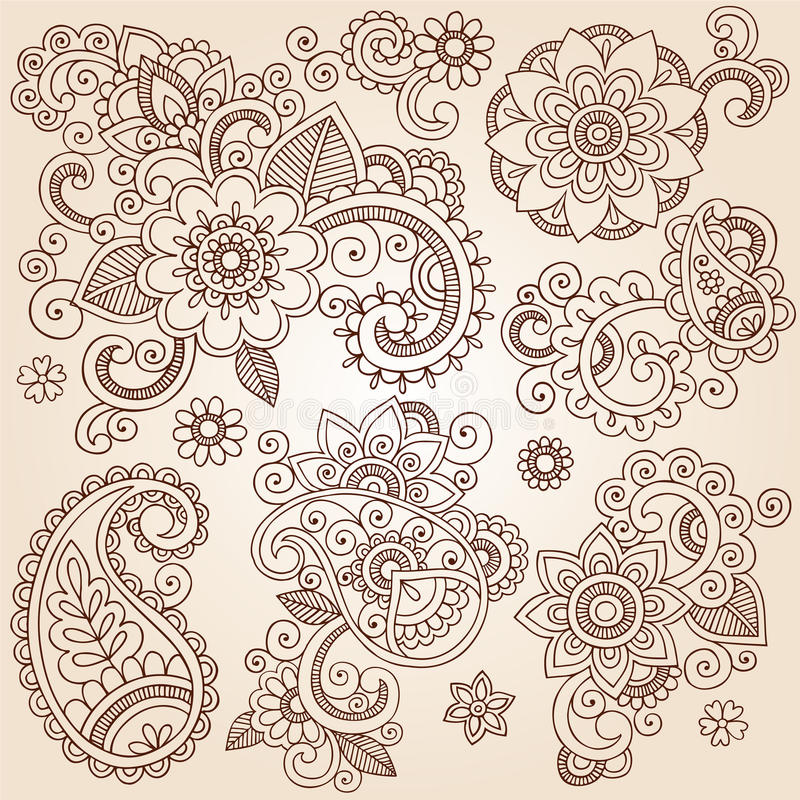 Henna Mehndi Paisley ανθίζει τη διανυσματική δερματοστιξία Illustr διανυσματική απεικόνιση