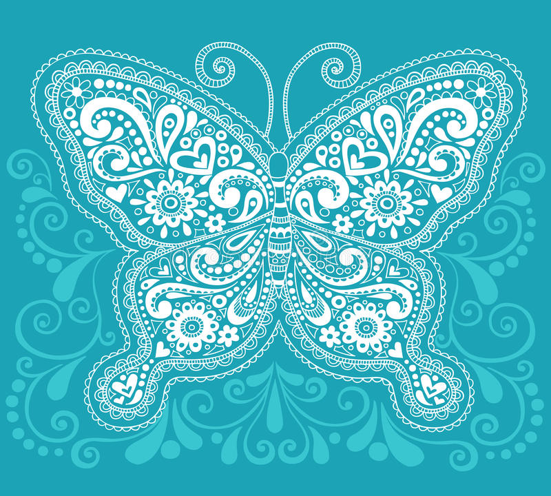 Henna Mehndi Paisley Butterfly Doodle Design