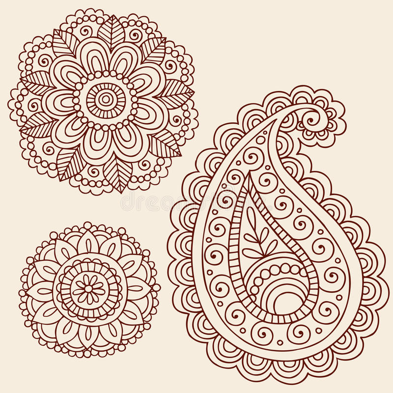 Henna Mehndi Paisley Flower Doodle Design. Hand-Drawn Abstract Henna Mehndi Tattoo Flower Mandala Medallion and Paisley Doodle Designs- Vector Illustration royalty free illustration