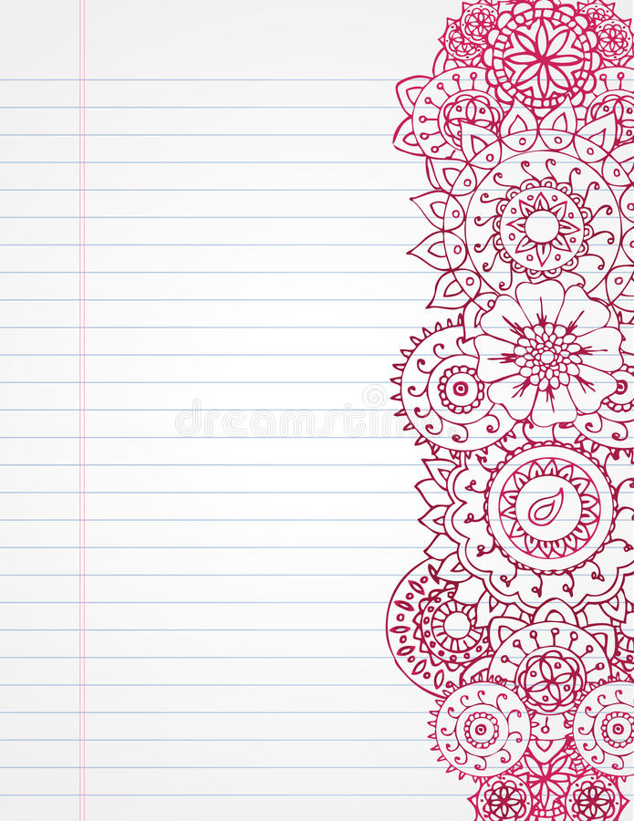 Henna Notebook. Hand drawn henna on lined notebook paper royalty free illustration