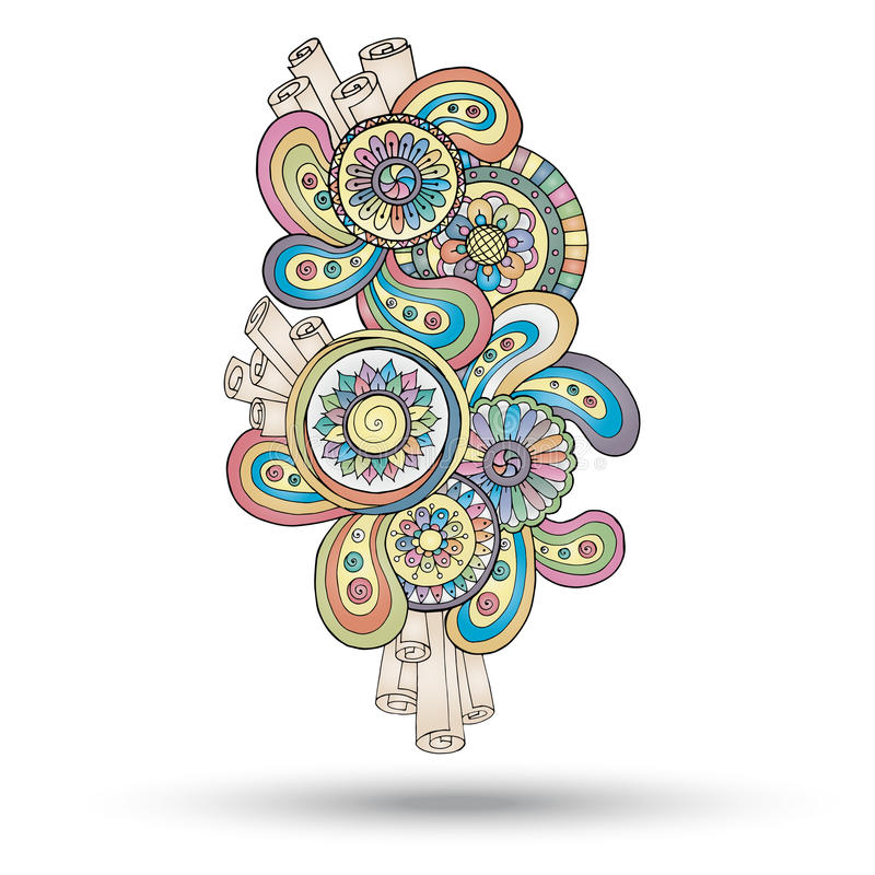 Henna Paisley Abstract Vector Design beståndsdel royaltyfri illustrationer