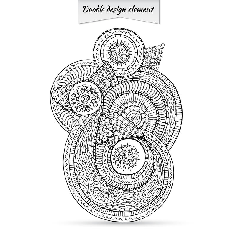 Henna Paisley Doodle Floral Design-Element lizenzfreie abbildung