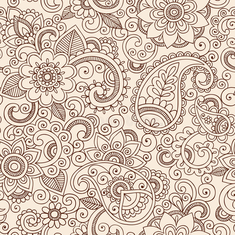 Henna Paisley Flowers Pattern Vetor sem emenda Illu