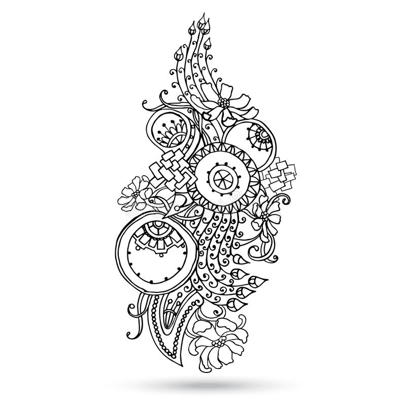 Henna Paisley Mehndi Abstract Vector Element Stock Vector