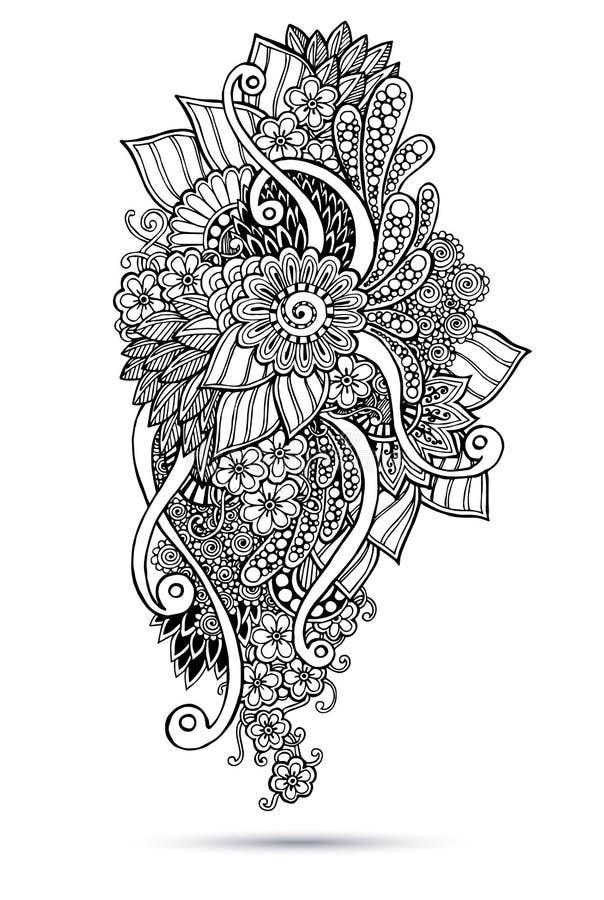 Henna Paisley Mehndi Doodles Abstract floral ilustração do vetor