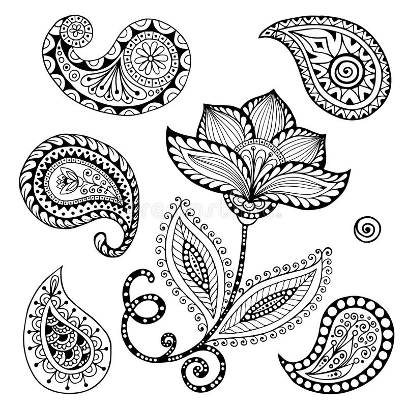 Henna Paisley Mehndi Doodles Abstract florale illustration de vecteur