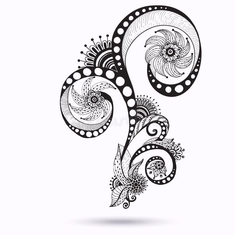 Henna Paisley Mehndi Doodles Design beståndsdel. royaltyfri illustrationer