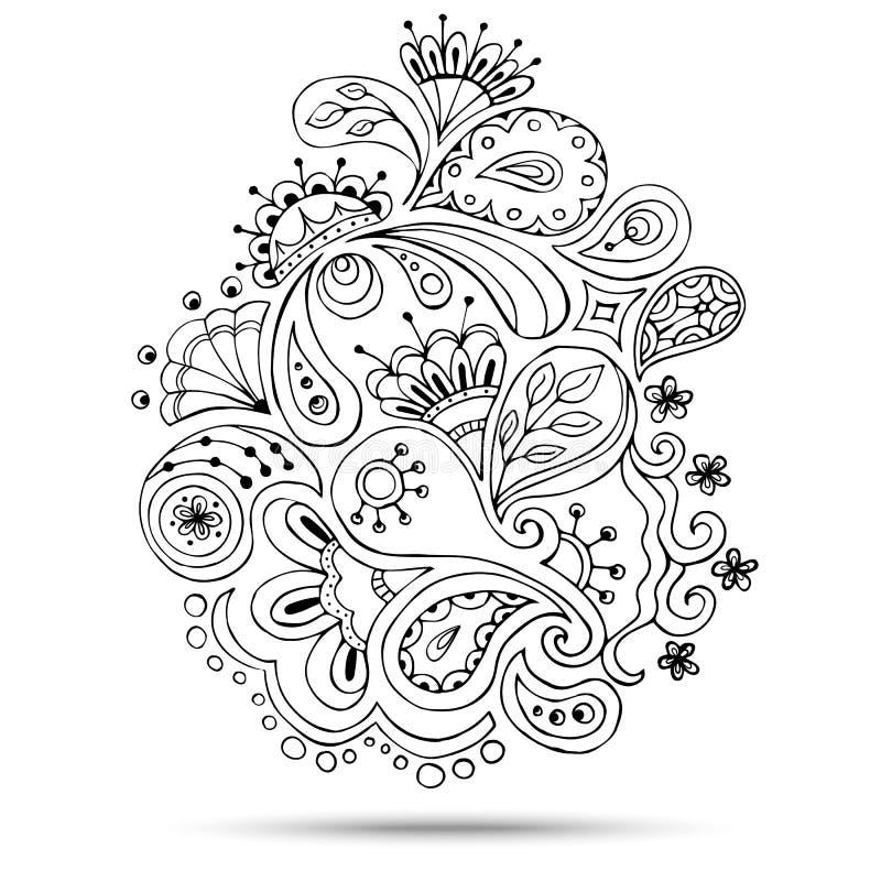 Henna Paisley Mehndi Doodles Design beståndsdel royaltyfri illustrationer