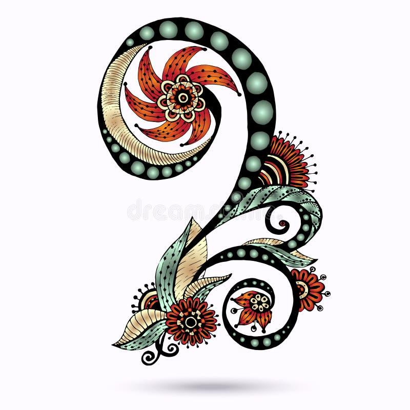 Henna Paisley Mehndi Doodles Design-Element. vektor abbildung