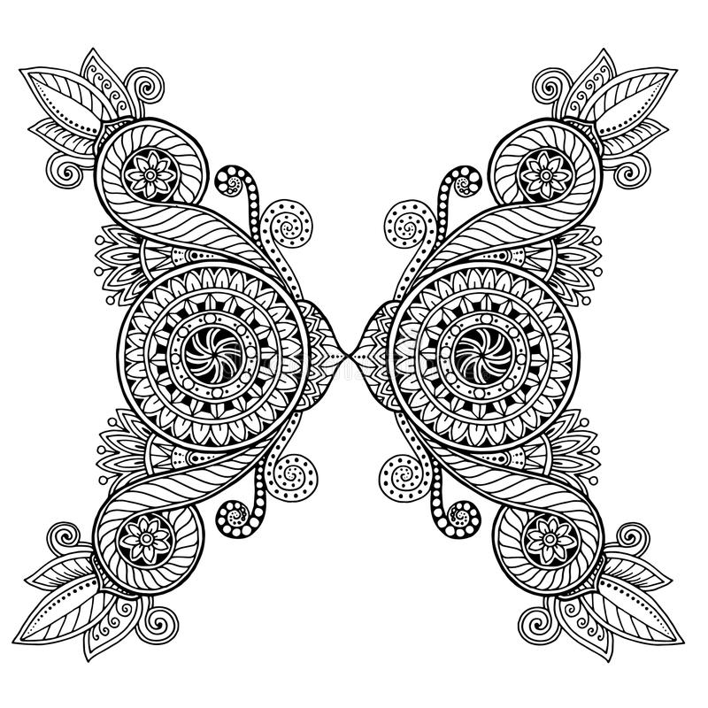 Henna paisley mehndi doodles design tribal design element. Black and white pattern. Ethnic floral zentangle, doodle background pattern circle in vector. Henna royalty free illustration