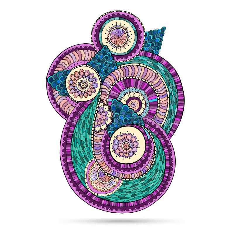 Henna Paisley Mehndi Doodles Floral-Element vektor abbildung