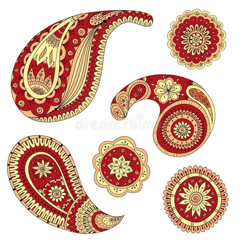 Henna Paisley Mehndi Vector Design beståndsdel stock illustrationer