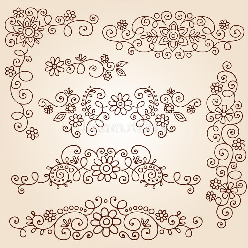 Download Henna Paisley Vines And Flowers Vector Set Stock Vector - Image: 27294072