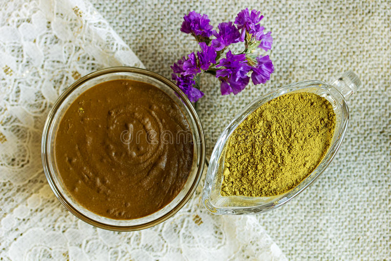 Henna powder. Henna paste. Prepare the henna paste at home. Focus on the powder royalty free stock image