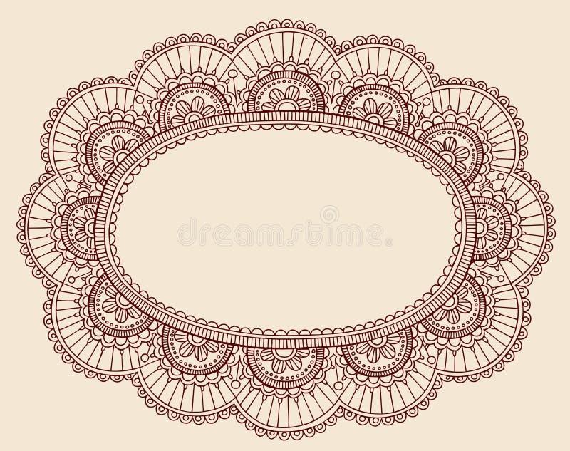 Henna snör åt design för ram för det DoilyPaisley klottret royaltyfri illustrationer