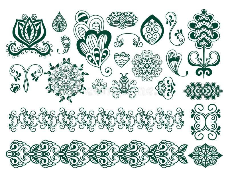 Henna tattoo brown mehndi flower doodle ornamental decorative indian design pattern paisley arabesque mhendi royalty free illustration