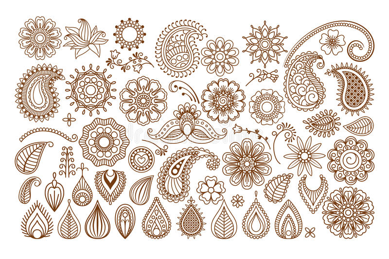 Henna tattoo doodle elements stock illustration