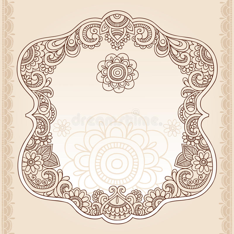 Henna Tattoo Flower Frame Doodle Vector Design Royalty Free Stock Photo