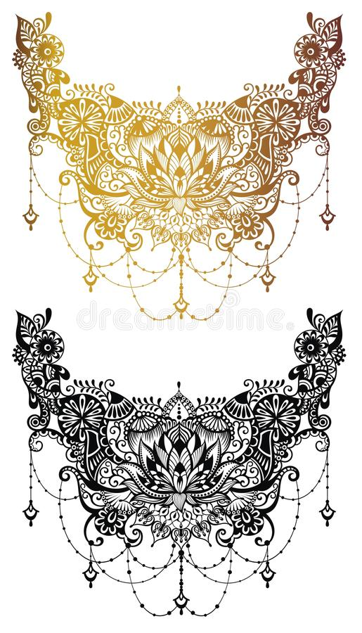 Henna tattoo flower template in Indian style. Ethnic floral paisley - Lotus. Mehndi style. vector illustration