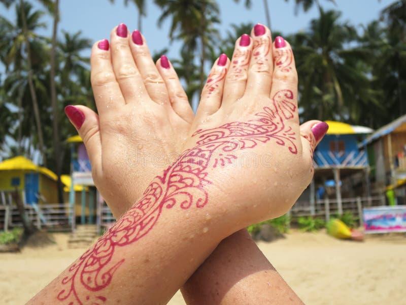 Henna Tattoo Beach: Henna Tattoo On The Hand Stock Image. Image Of Meditation