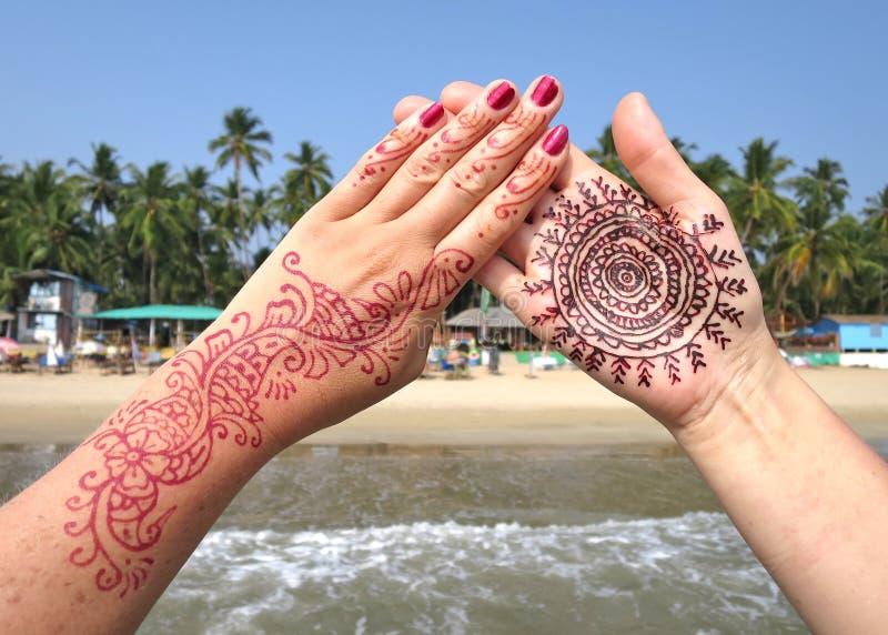 Henna tattoo on the hand. stock photo. Image of
