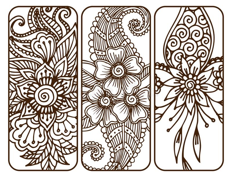 Henna tattoo mehndi flower doodle ornamental decorative indian design pattern paisley arabesque mhendi embellishment. Henna tattoo mehndi flower template banner royalty free illustration