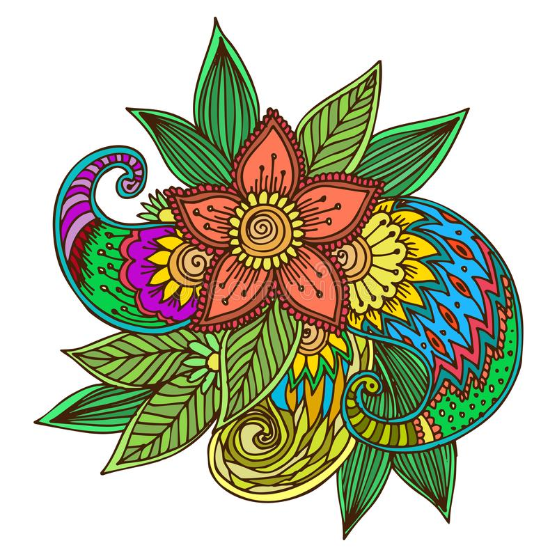 Henna tattoo mehndi flower doodle ornamental decorative indian design pattern paisley arabesque mhendi embellishment. Henna tattoo mehndi flower template doodle stock illustration