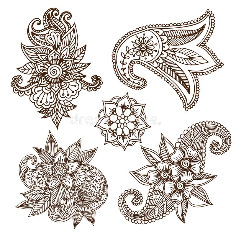 Henna tattoo mehndi flower doodle ornamental decorative indian design pattern paisley arabesque mhendi embellishment. Henna tattoo mehndi flower template doodle royalty free illustration