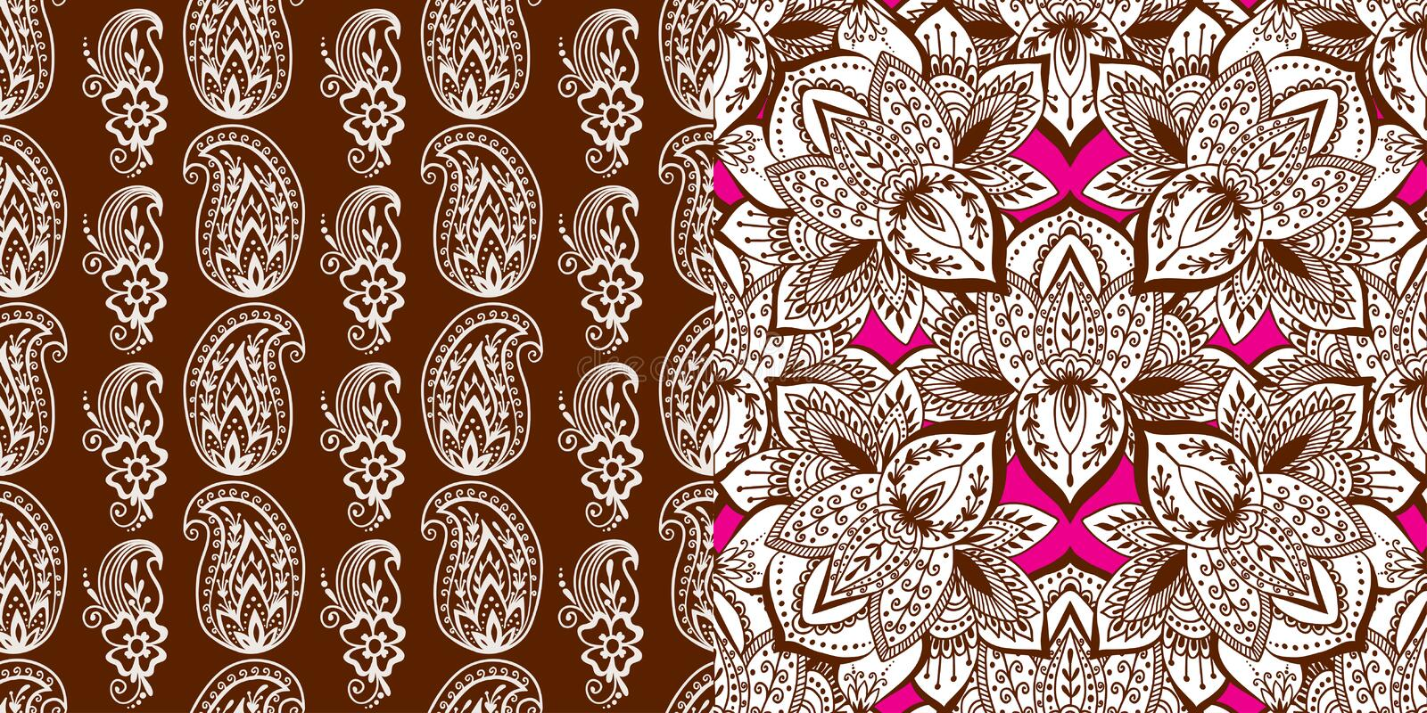 Henna tattoo mehndi flower doodle ornamental decorative indian design seamless pattern paisley arabesque embellishment. Henna tattoo mehndi flower template royalty free illustration