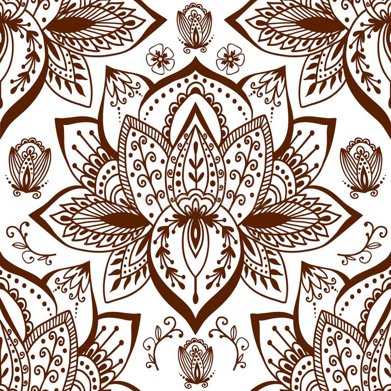 Henna tattoo mehndi flower doodle ornamental decorative indian design seamless pattern paisley arabesque embellishment. Henna tattoo mehndi flower template vector illustration