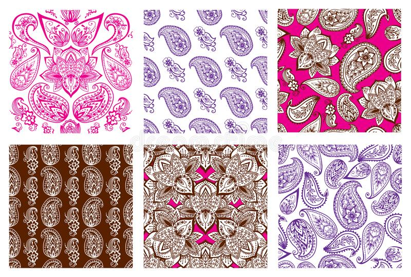 Henna tattoo mehndi flower doodle ornamental decorative indian design seamless pattern paisley arabesque embellishment. Henna tattoo mehndi flower template stock illustration