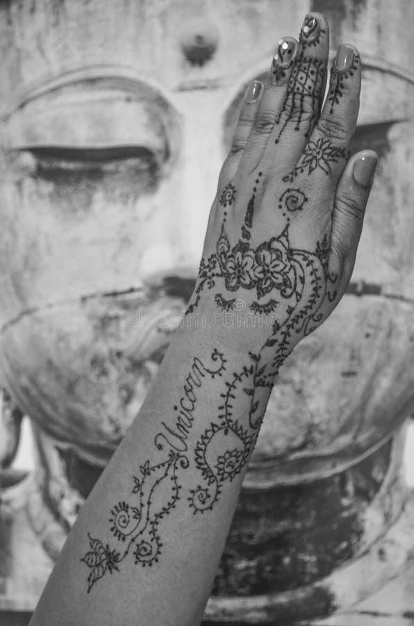 Henna tatuaż jednorożec zdjęcie royalty free