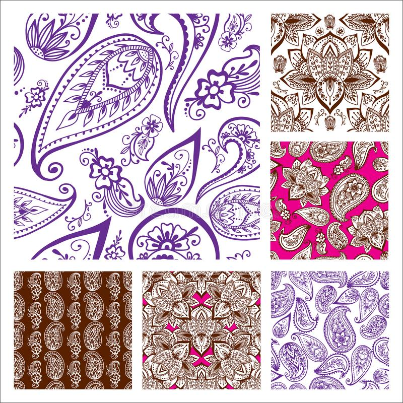 Henna tatuażu mehndi kwiatu doodle ornamentacyjnego dekoracyjnego indyjskiego projekta Paisley arabesku bezszwowy deseniowy zdobi royalty ilustracja