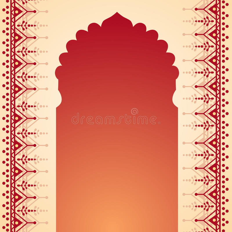 Henna temple gate design. Traditional Indian temple gate banner with henna design borders and space for text royalty free illustration