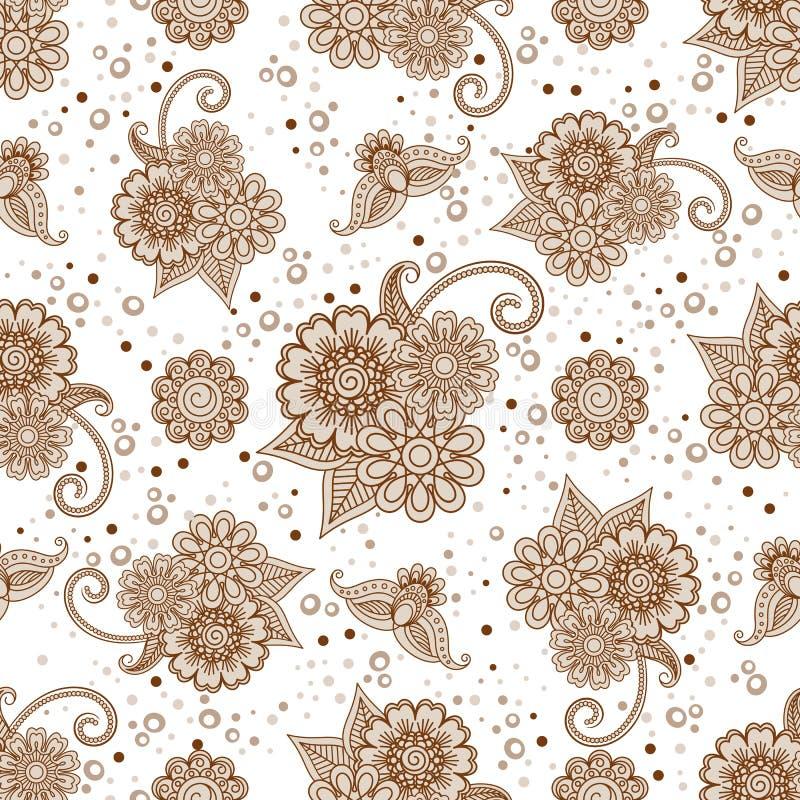 Hennaelementen met punten naadloos patroon vector illustratie