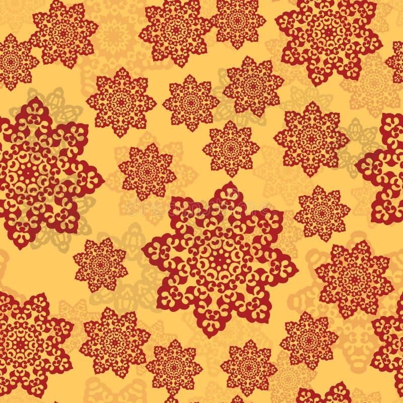 Hennafärgprydnad av mandalaen på en gul bakgrund Ändlös tegelplatta för orientaliska mattor, sjalar, textiler, tyg royaltyfri illustrationer